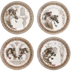 Chevaux Du Vent 4 Dessert Plates Arabian Wind Horses by Gien, France