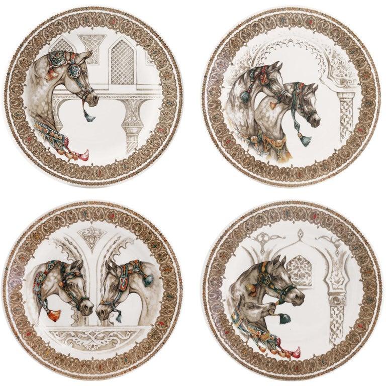 Chevaux Du Vent 4 Dessert Plates Arabian Wind Horses by Gien, France For Sale
