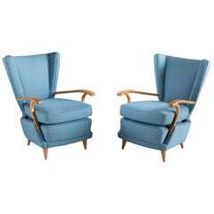 Pair of Curved Plywood Armchairs, Italy, circa 1950
