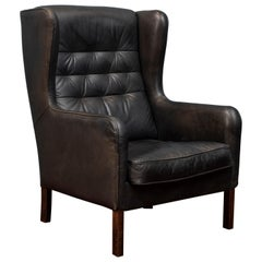 Danish Modern Leather Wingback Chair