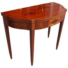 American Mahogany and Birch Inlaid Half Serpentine Form Card Table, Circa 1800