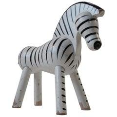 Kay Bojesen Original Painted Beech Zebra Figure with Patina, 1950s Danish Modern