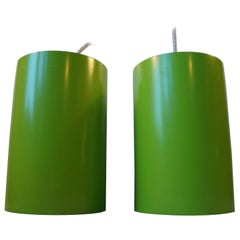 Danish Modern Cylindrical Green Pendant Lamps by Louis Poulsen, 1970s