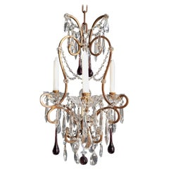 Fine Candle Purple Crystal Chandelier Antique Ceiling Lustre Pendant Lighting