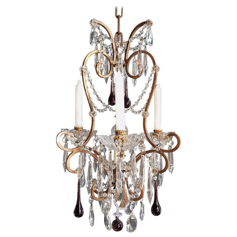 Fine Candle Purple Crystal Chandelier Antique Ceiling Re Pendant Lighting