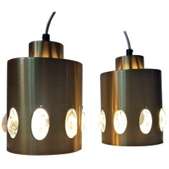 Danish Midcentury Brass and Crystal Prisms Pendant Lights from Vitrika, 1960s