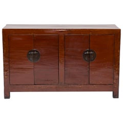 Late 19th Century Chinese Red Lacquer Sideboard