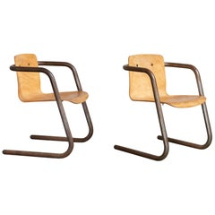 Pair of Studio Produced Bentwood Club Chairs, America, 20th Century