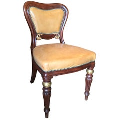 William IV Side / Desk Chair in Mahogany and Parcel Giltwood Mid-19th Century
