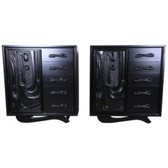 Witco Oceanic Style Black Lacquered Sculptural Tiki Gentleman's Chests