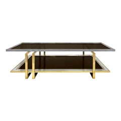 1970s French Two-Tier Brass and Nickel Coffee Table