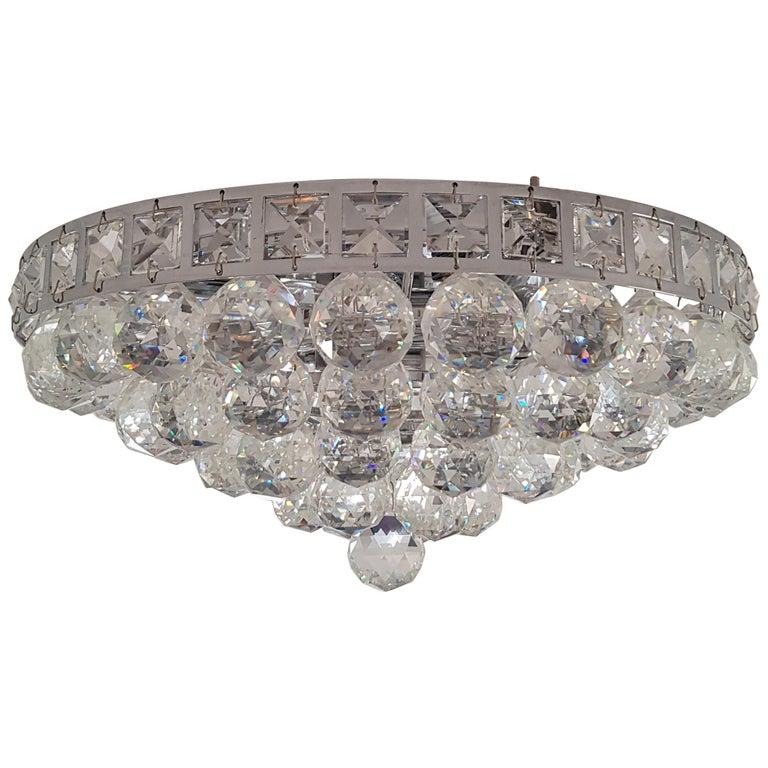 Mondern Chrome Art Deco Crystal Chandelier Lamp Flat Ceiling Flush Mount Neutral