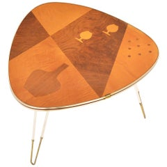German Modern Atomic Wedge Table with Inlays
