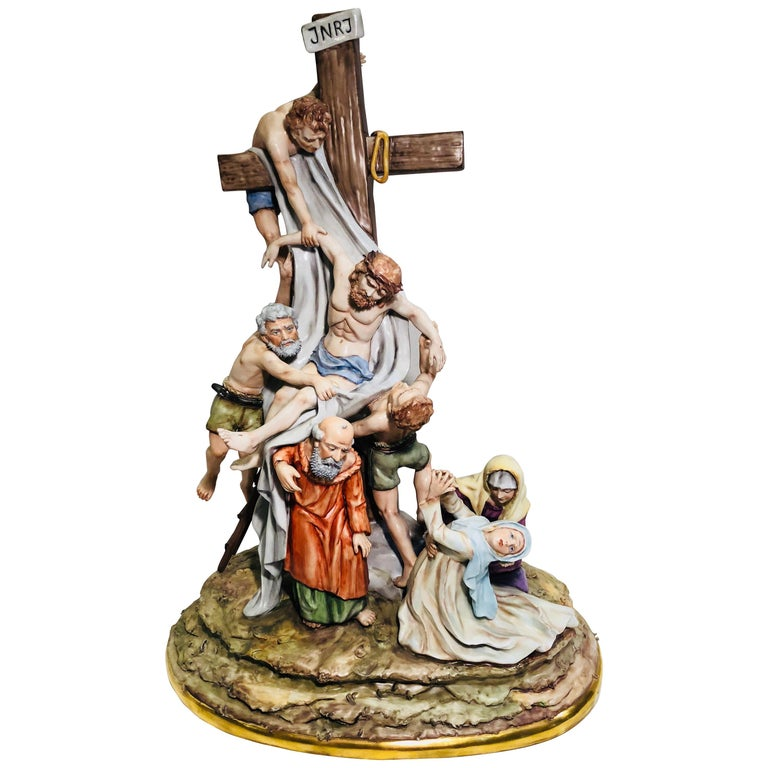Sitzendorf Germany 13th Station of the Cross Museum Quality Porcelain Scene For Sale