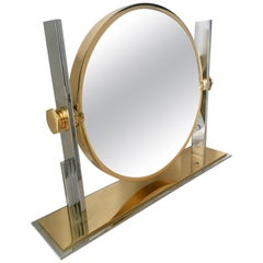 Karl Springer Brass and Chrome Table Mirror