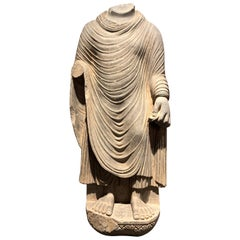 Large Gandharan Standing Buddha Torso, Carved Gray Schist, 2nd-3rd Century