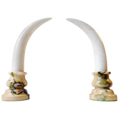 Pair of Faux 'Elephant Tusk', Marble Bookends or Dresser Ornaments, 20th Century