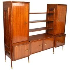 Italian Midcentury Mahogany and Brass Bookcase Credenza