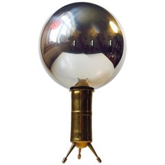 Unusual Vintage Mirror Sphere on Tripod Brass Stand by Anonymous Artist