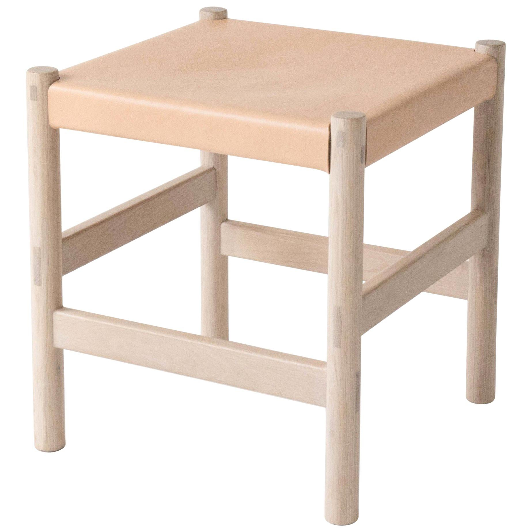 Juniper Stool by Sun at Six, Nude Minimalist Stool in Wood and Leather