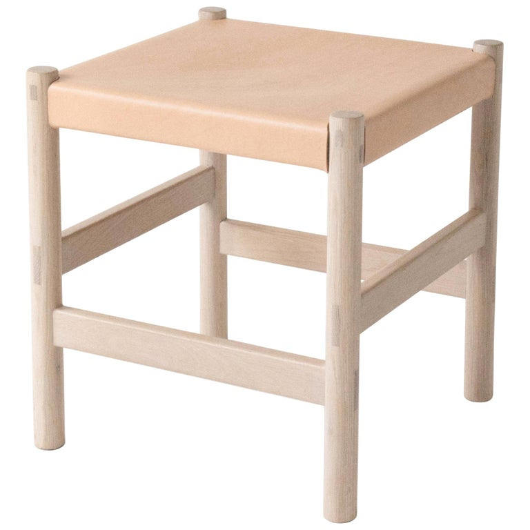 Juniper Stool by Sun at Six, Nude Minimalist Stool in Wood and Leather For Sale