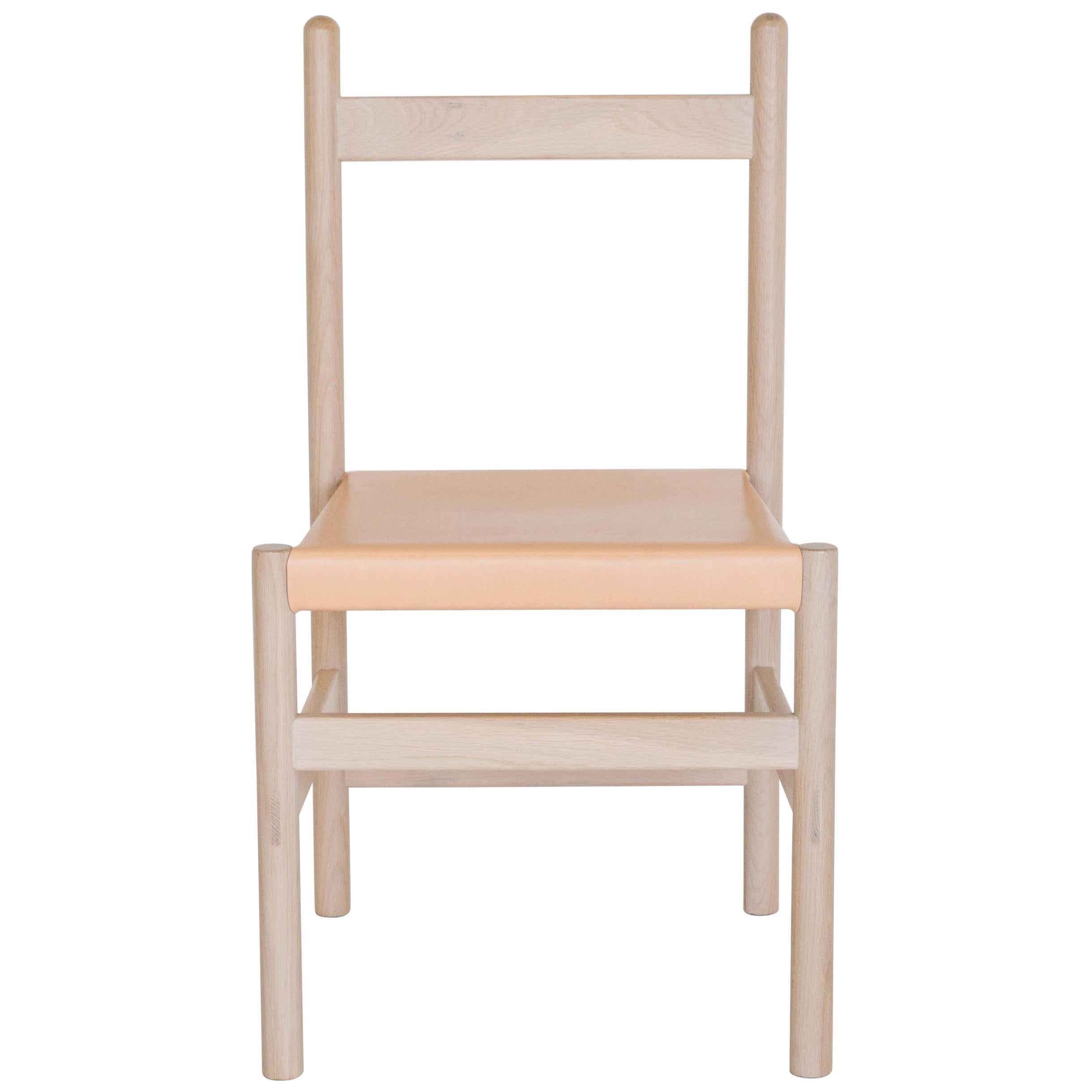 Juniper Chair by Sun at Six, Nude Minimalist Chair in Wood and Leather