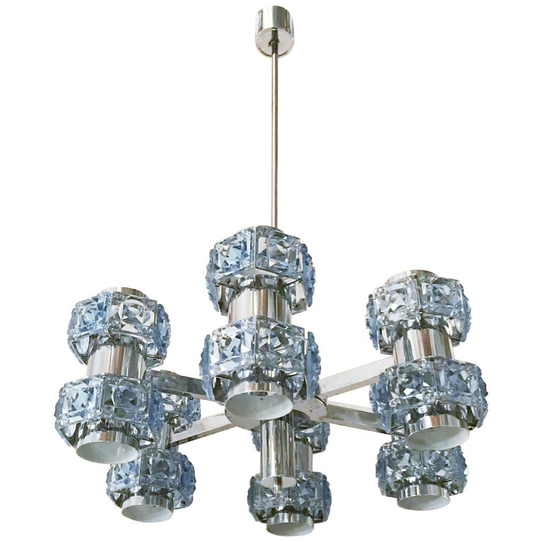 Blue Crystal Chandelier by Sciolari For Sale