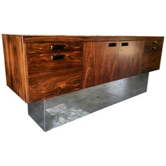 Milo Baughman Style Rosewood with Chrome Plinth Credenza