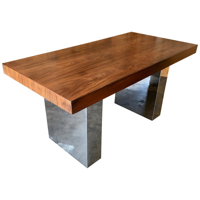 Milo Baughman Style Rosewood and Chrome Table / Desk  For Sale