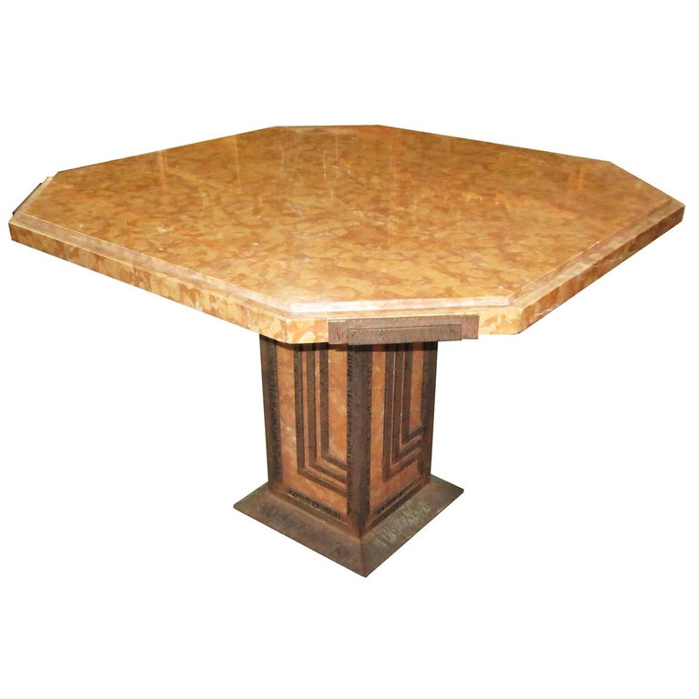 Art Deco Cafe or Game Table in Marble and Iron For Sale