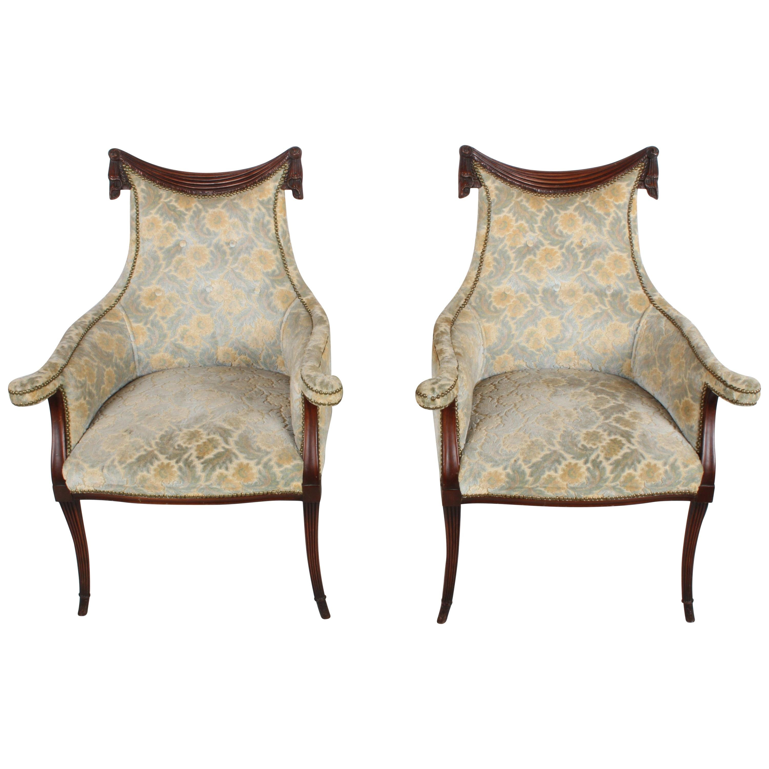 Pair of Grosfeld House Swag and Drape Bergère Chairs, Hollywood Regency