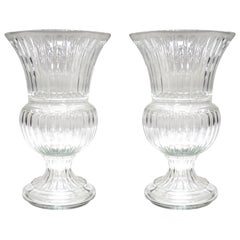 Monumental Neoclassical Gadrooned Glass Urns, a Pair