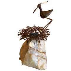 Bird or Sandpiper in Nest Sculpture on Quartz Base by C. Jere