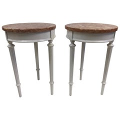Pair of Hollywood Regency Marble Top Side Tables