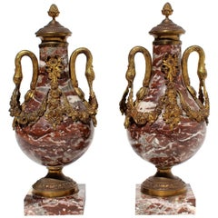 French 19th Century Bronze Doré and Marble Cassolettes