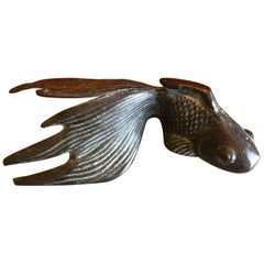 Small Patinated Bronze Koi Sculpture or Paperweight