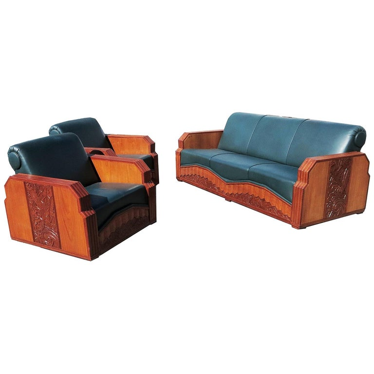 Important Art Deco Sofa Set from Hollywood Pantages Theater For Sale