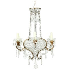 Italian Gilt Iron and Crystal Chandelier