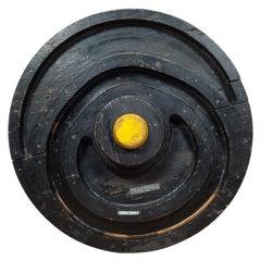 Early 20th Century Wooden Train Wheel Foundry Mold, circa 1900