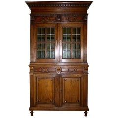 Carved Oak Buffet/Hutch Deux Corps Cabinet, circa 1850