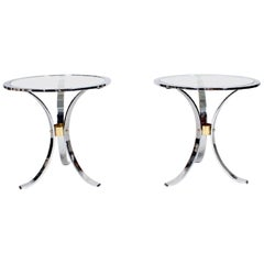 Pair of Maison Jansen Polished Steel and Brass Side Tables
