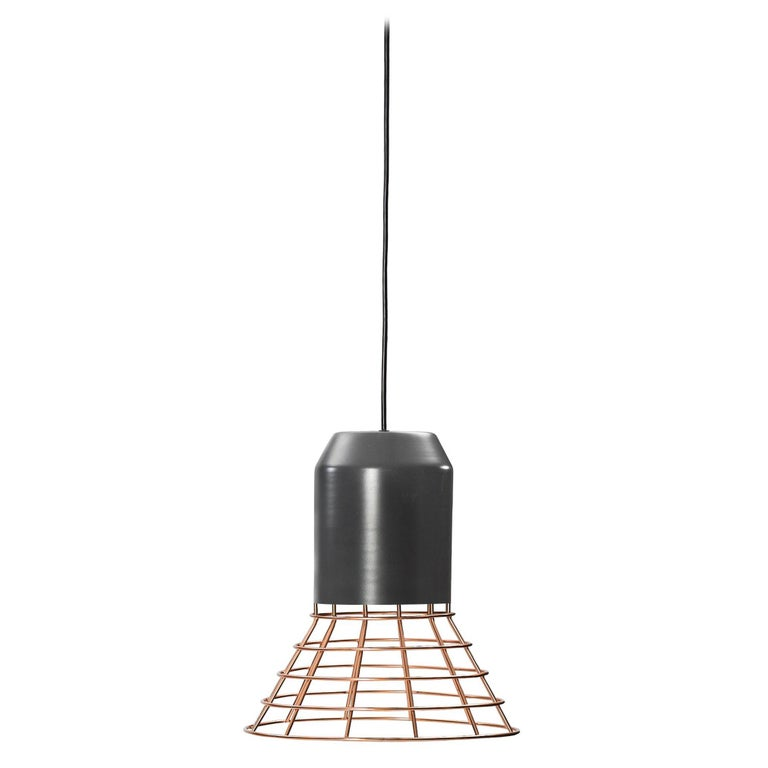 ClassiCon Bell Light Pendant Lamp in Grey Copper Cage by Sebastian Herkner For Sale