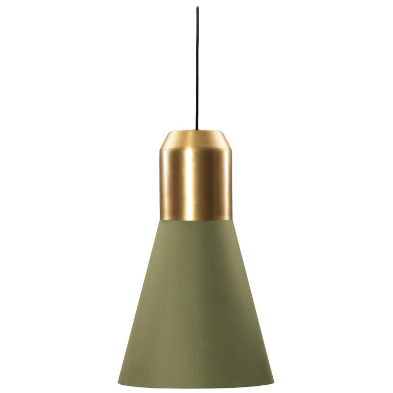 ClassiCon Bell Light Pendant Lamp Green Fabric with Brass by Sebastian Herkner For Sale