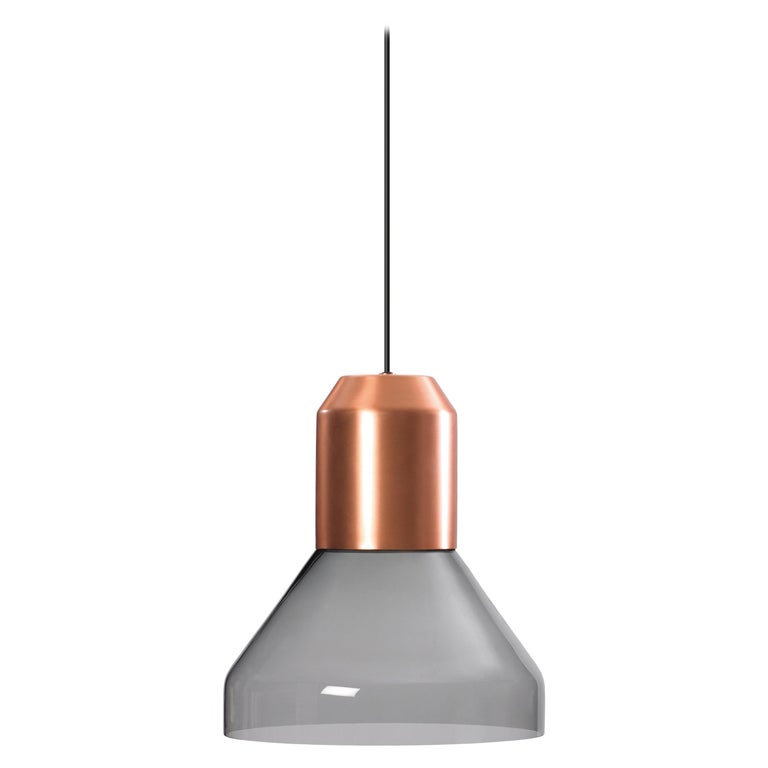 ClassiCon Bell Light Pendant Lamp in Copper and Grey Glass by Sebastian Herkner For Sale