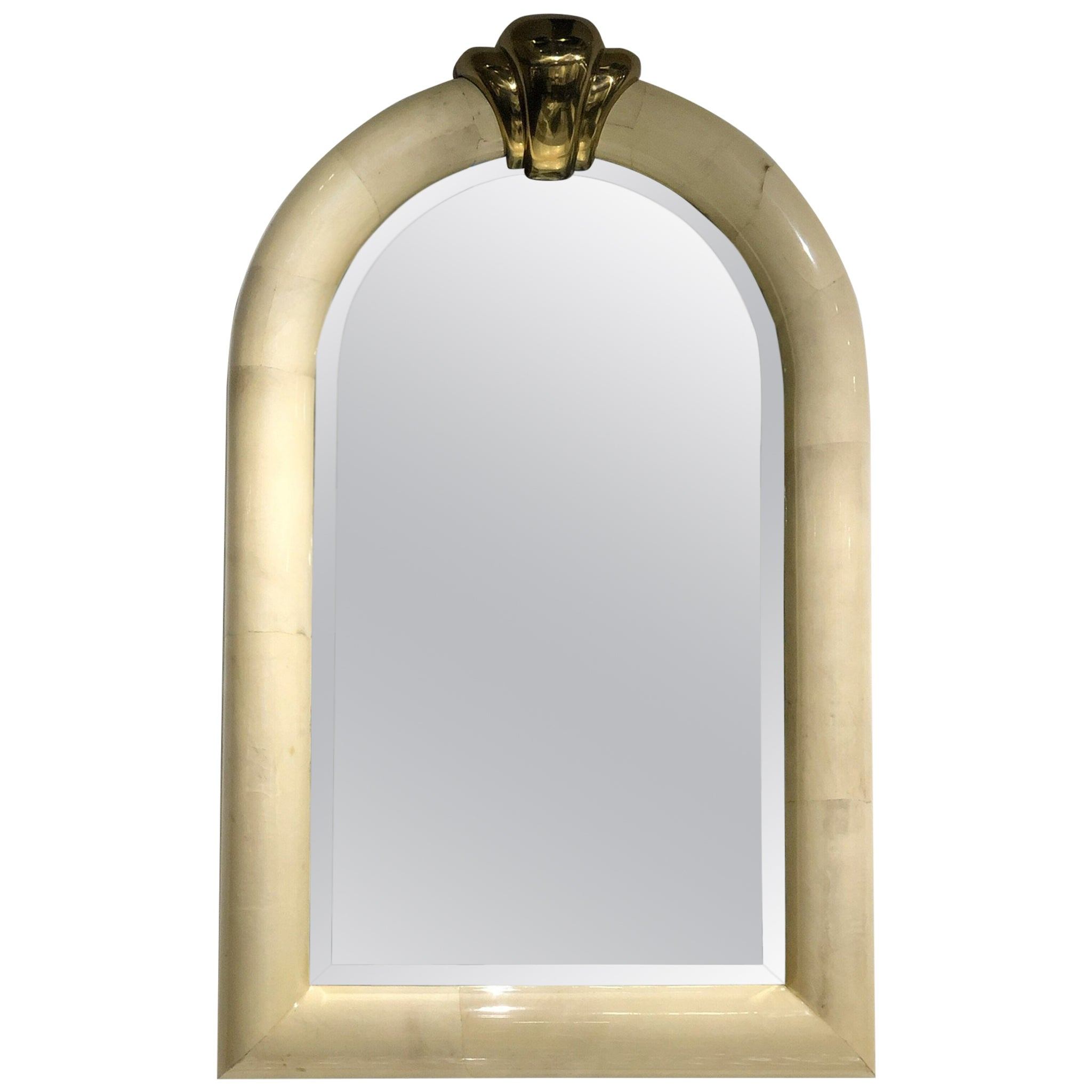 Goatskin and Brass Wall Mirror in the Manner of Karl Springer