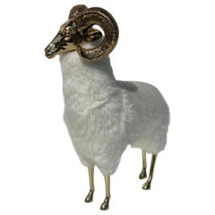 Polished Brass Ram or Sheep Sculpture