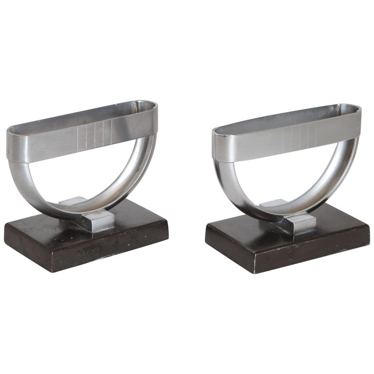 Machine Age Art Deco  Norman Bel Geddes Pair Revere Crescent Candlestick Holders For Sale