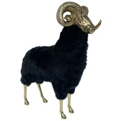 Brass Mountain Sheep or Ram Sculpture in Black Fur