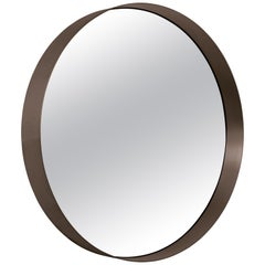ClassiCon Cypris Round Mirror in Burnished Brass and Smoked Glass by Nina Mair