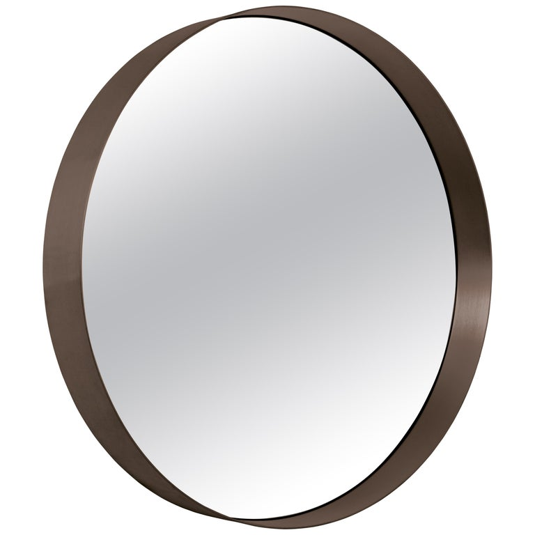 ClassiCon Cypris Round Mirror in Burnished Brass and Smoked Glass by Nina Mair For Sale